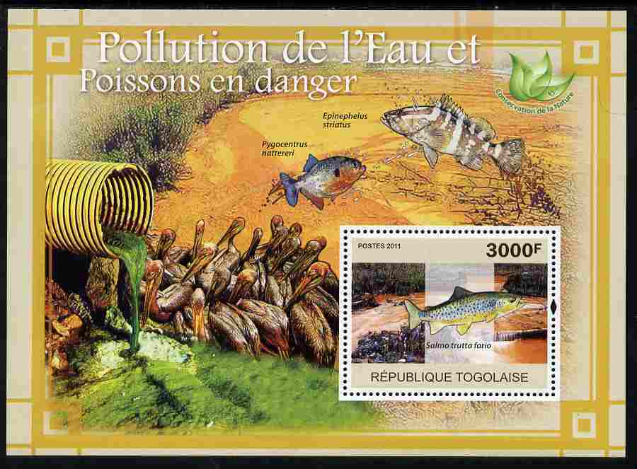 Togo 2011 Water Pollution & Endangered Fishes perf s/sheet unmounted mint