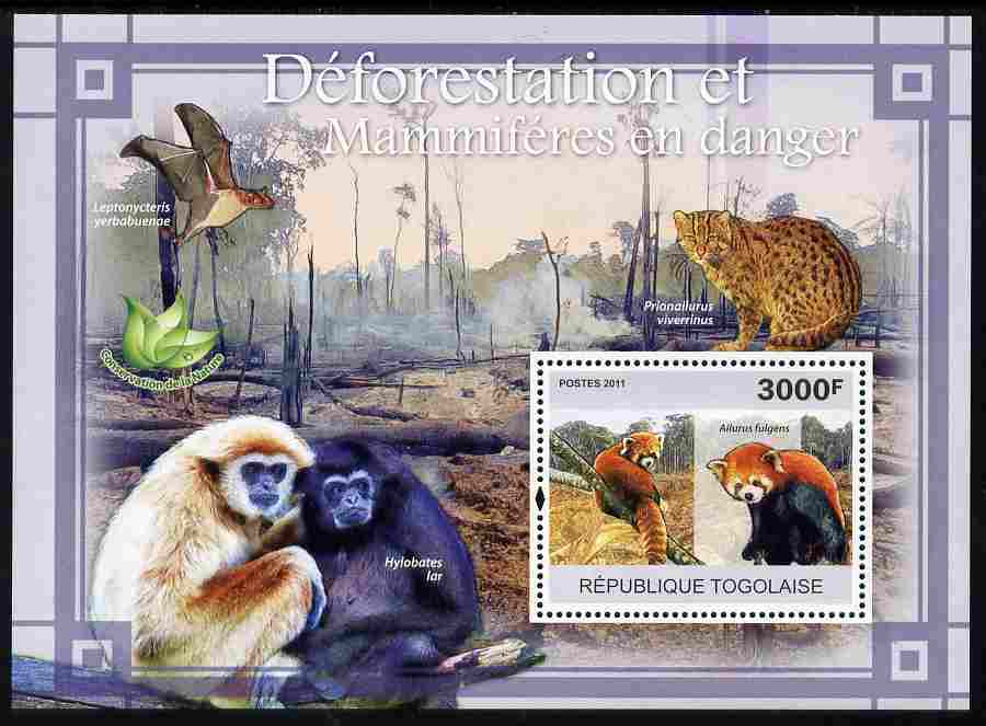 Togo 2011 Environment - Deforestation & Endangered Mammals perf s/sheet unmounted mint