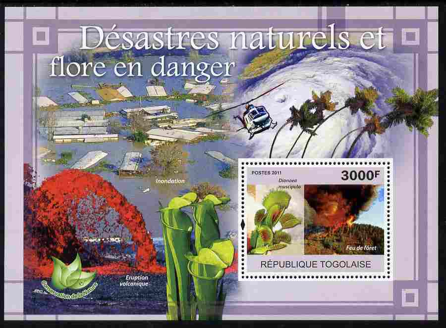 Togo 2011 Natural Disasters & Endangered Flora perf s/sheet unmounted mint