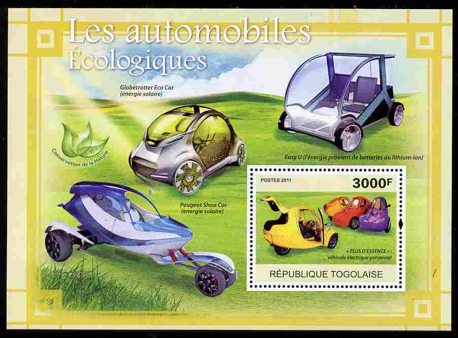 Togo 2011 Ecological Cars perf s/sheet unmounted mint