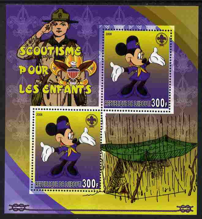 Djibouti 2006 Disney & Scouting for Children #1 perf sheetlet containing 2 values unmounted mint. Note this item is privately produced and is offered purely on its thematic appeal, stamps on disney, stamps on scouts, stamps on films, stamps on cinema, stamps on movies, stamps on cartoons