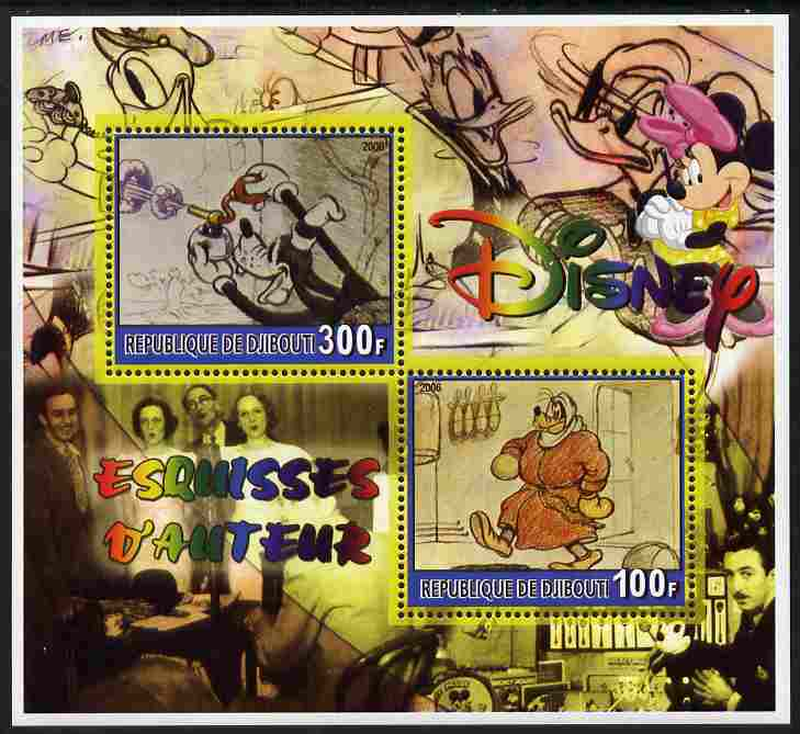 Djibouti 2006 Disney - Original Sketches #1 perf sheetlet containing 2 values unmounted mint. Note this item is privately produced and is offered purely on its thematic appeal