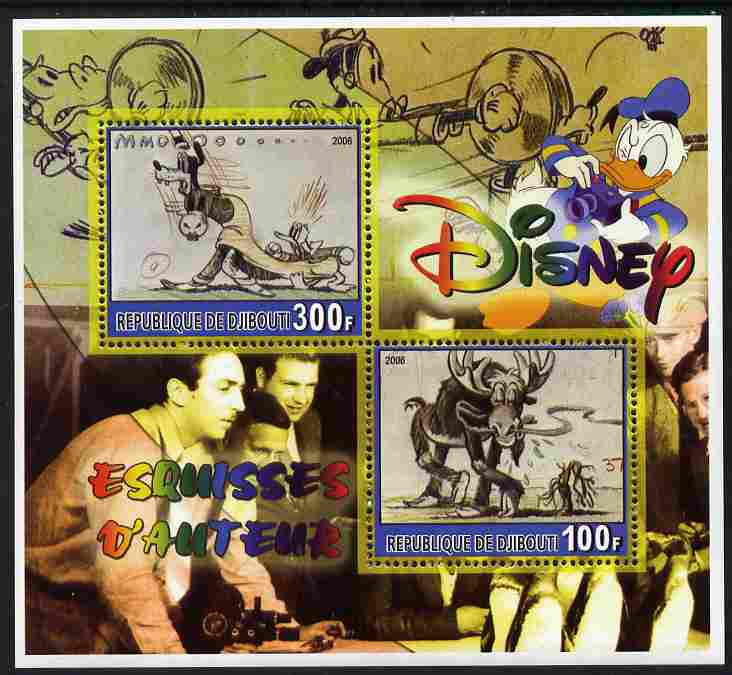 Djibouti 2006 Disney - Original Sketches #2 perf sheetlet containing 2 values unmounted mint. Note this item is privately produced and is offered purely on its thematic appeal