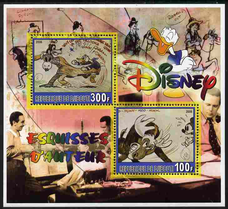 Djibouti 2006 Disney - Original Sketches #3 perf sheetlet containing 2 values unmounted mint. Note this item is privately produced and is offered purely on its thematic appeal