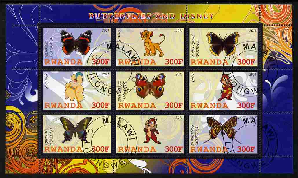 Rwanda 2011 Butterflies & Disney Characters #1 perf sheetlet containing 9 values fine cto used