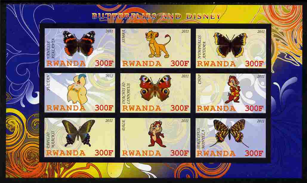 Rwanda 2011 Butterflies & Disney Characters #1 imperf sheetlet containing 9 values unmounted mint