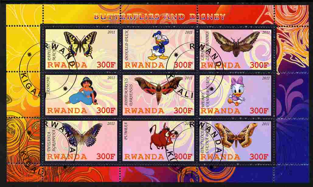 Rwanda 2011 Butterflies & Disney Characters #2 perf sheetlet containing 9 values fine cto used