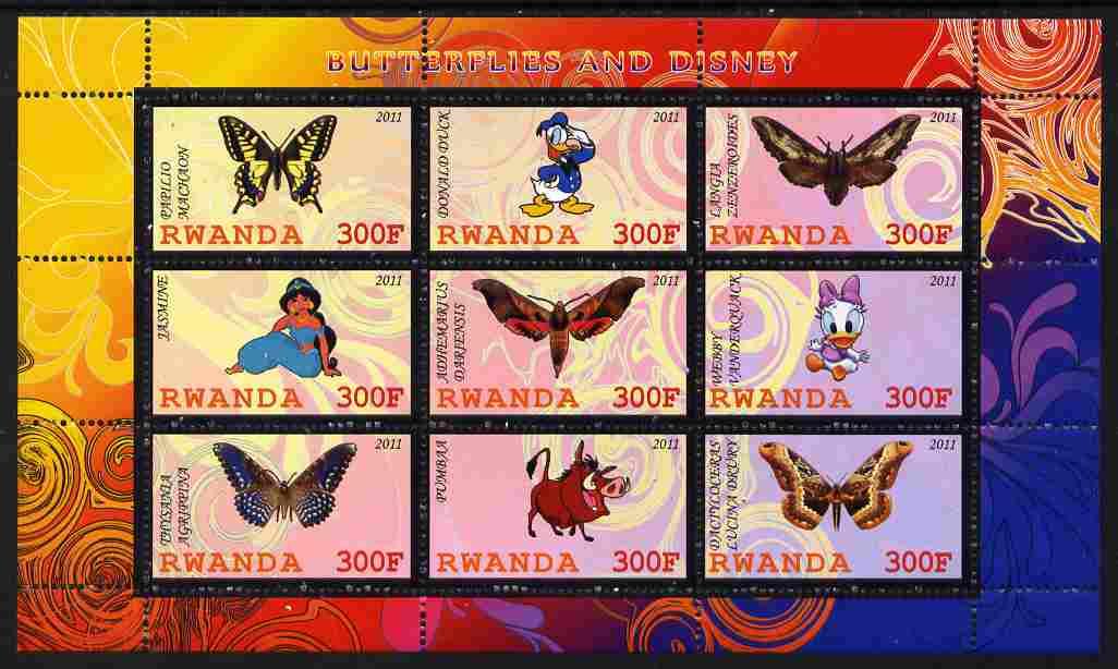 Rwanda 2011 Butterflies & Disney Characters #2 perf sheetlet containing 9 values unmounted mint