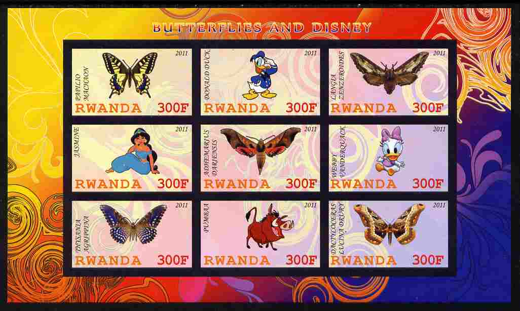 Rwanda 2011 Butterflies & Disney Characters #2 imperf sheetlet containing 9 values unmounted mint, stamps on butterflies, stamps on disney, stamps on cartoons, stamps on films, stamps on cinema, stamps on movies