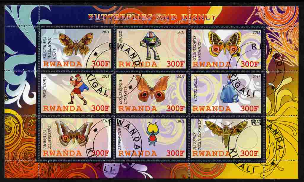Rwanda 2011 Butterflies & Disney Characters #3 perf sheetlet containing 9 values fine cto used