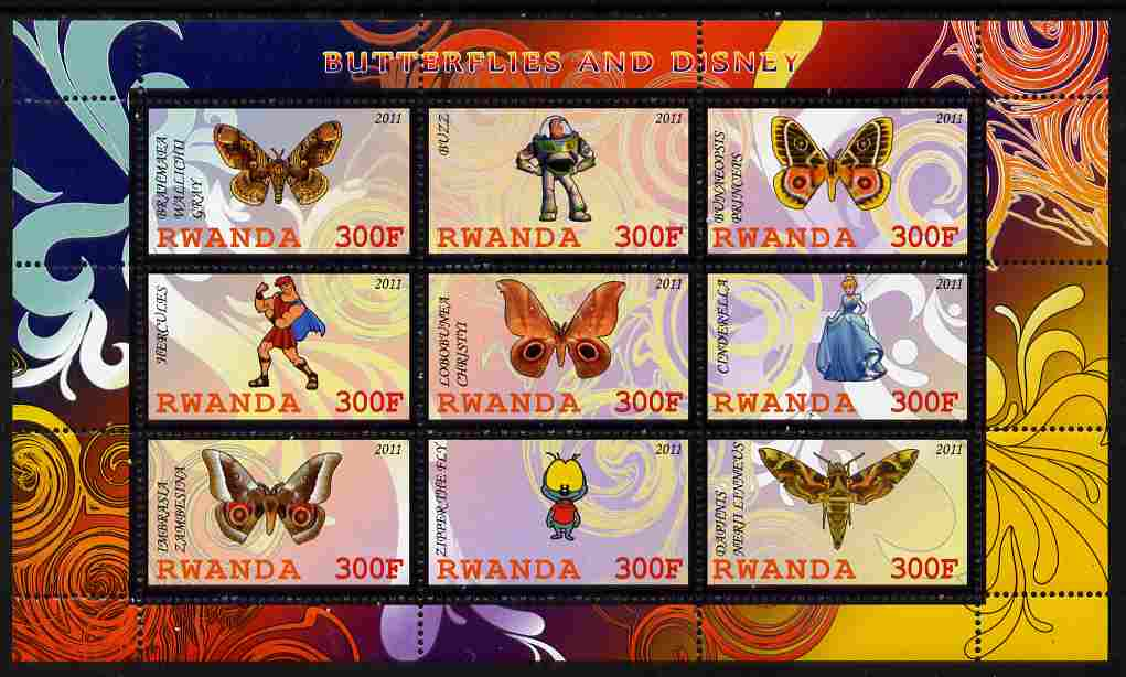 Rwanda 2011 Butterflies & Disney Characters #3 perf sheetlet containing 9 values unmounted mint
