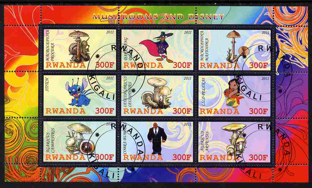 Rwanda 2011 Mushrooms & Disney Characters #1 perf sheetlet containing 9 values fine cto used