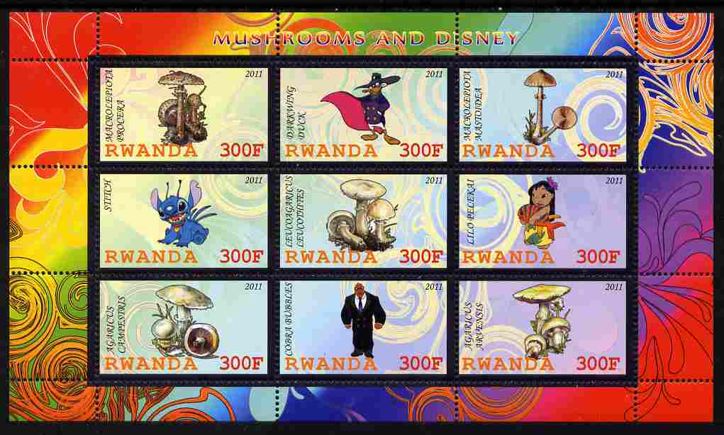 Rwanda 2011 Mushrooms & Disney Characters #1 perf sheetlet containing 9 values unmounted mint