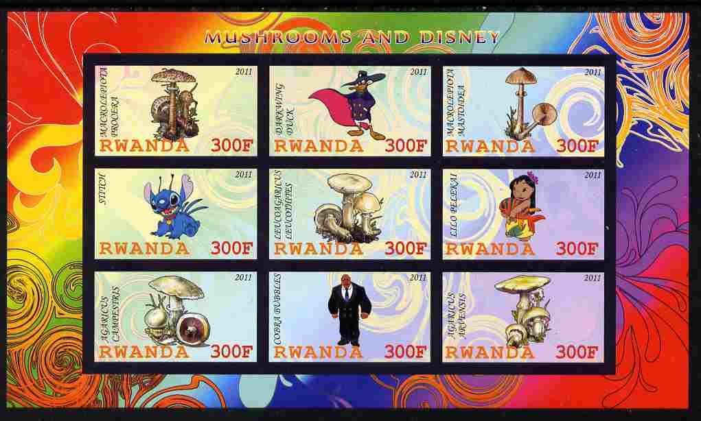 Rwanda 2011 Mushrooms & Disney Characters #1 imperf sheetlet containing 9 values unmounted mint