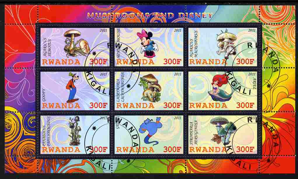 Rwanda 2011 Mushrooms & Disney Characters #2 perf sheetlet containing 9 values fine cto used