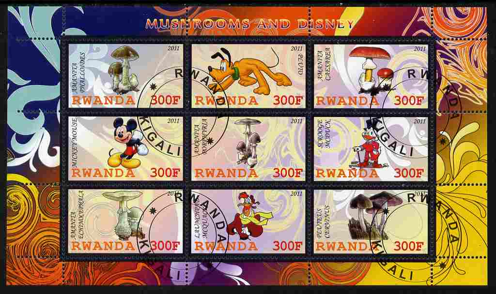 Rwanda 2011 Mushrooms & Disney Characters #3 perf sheetlet containing 9 values fine cto used