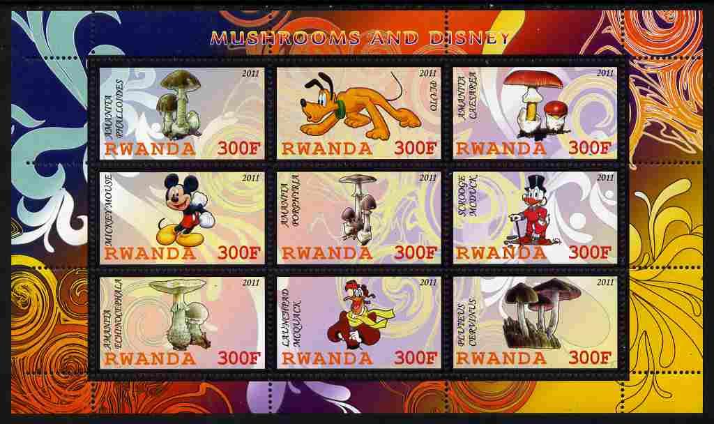 Rwanda 2011 Mushrooms & Disney Characters #3 perf sheetlet containing 9 values unmounted mint