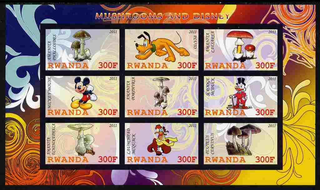 Rwanda 2011 Mushrooms & Disney Characters #3 imperf sheetlet containing 9 values unmounted mint