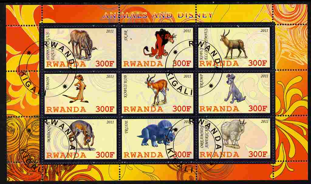 Rwanda 2011 Animals & Disney Characters #1 perf sheetlet containing 9 values fine cto used