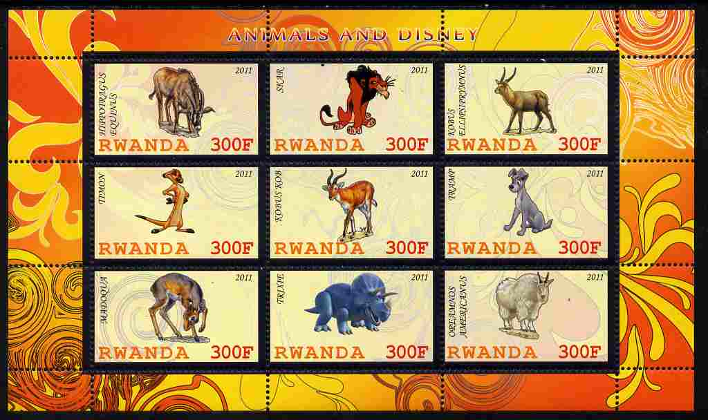 Rwanda 2011 Animals & Disney Characters #1 perf sheetlet containing 9 values unmounted mint