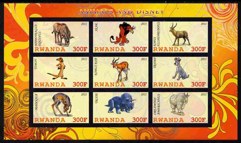 Rwanda 2011 Animals & Disney Characters #1 imperf sheetlet containing 9 values unmounted mint