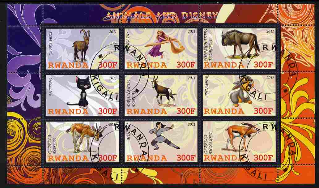 Rwanda 2011 Animals & Disney Characters #2 perf sheetlet containing 9 values fine cto used