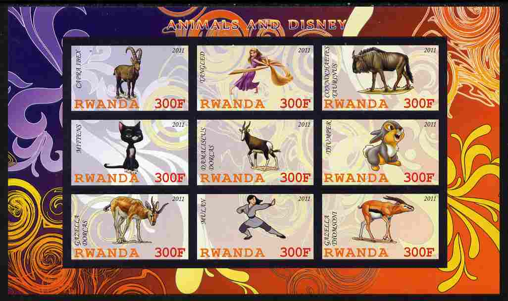Rwanda 2011 Animals & Disney Characters #2 imperf sheetlet containing 9 values unmounted mint