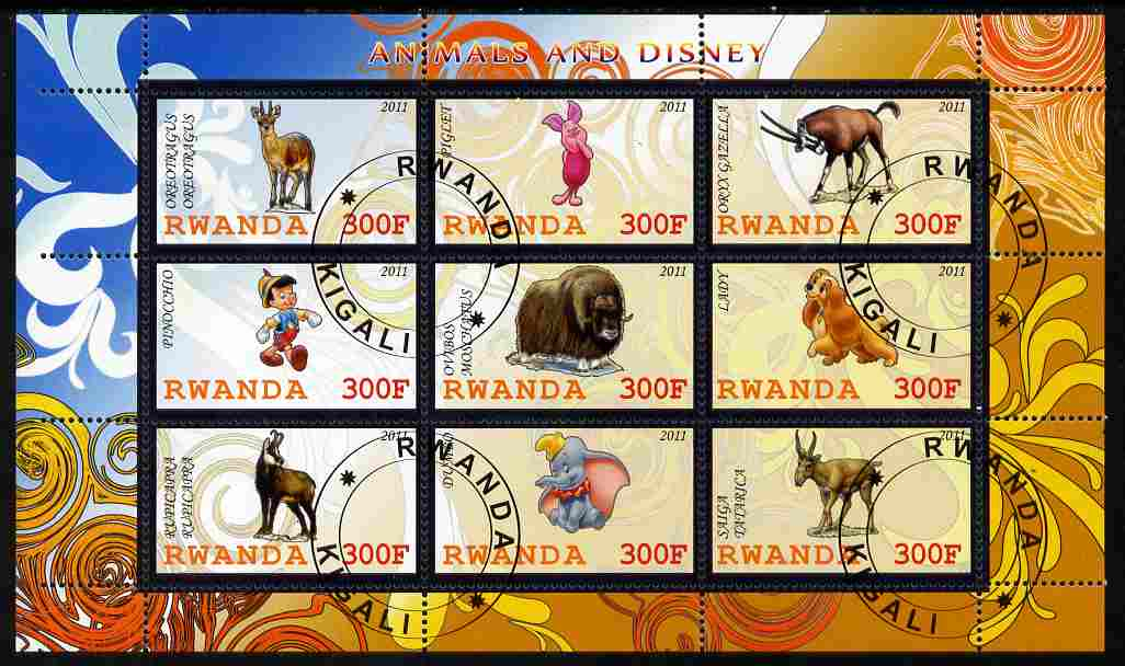 Rwanda 2011 Animals & Disney Characters #3 perf sheetlet containing 9 values fine cto used