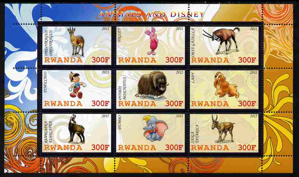 Rwanda 2011 Animals & Disney Characters #3 perf sheetlet containing 9 values unmounted mint