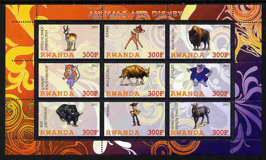 Rwanda 2011 Animals & Disney Characters #4 perf sheetlet containing 9 values unmounted mint