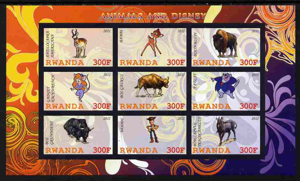 Rwanda 2011 Animals & Disney Characters #4 imperf sheetlet containing 9 values unmounted mint