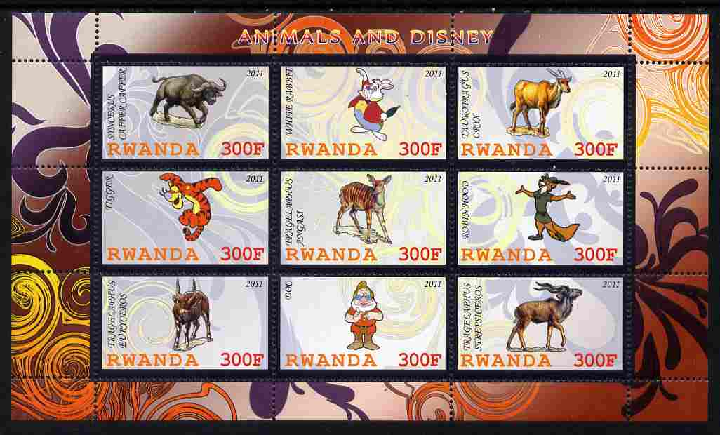 Rwanda 2011 Animals & Disney Characters #5 perf sheetlet containing 9 values unmounted mint, stamps on animals, stamps on disney, stamps on cartoons, stamps on films, stamps on cinema, stamps on movies, stamps on bovine