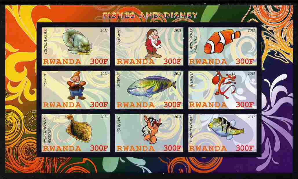 Rwanda 2011 Fish & Disney Characters #1 imperf sheetlet containing 9 values unmounted mint