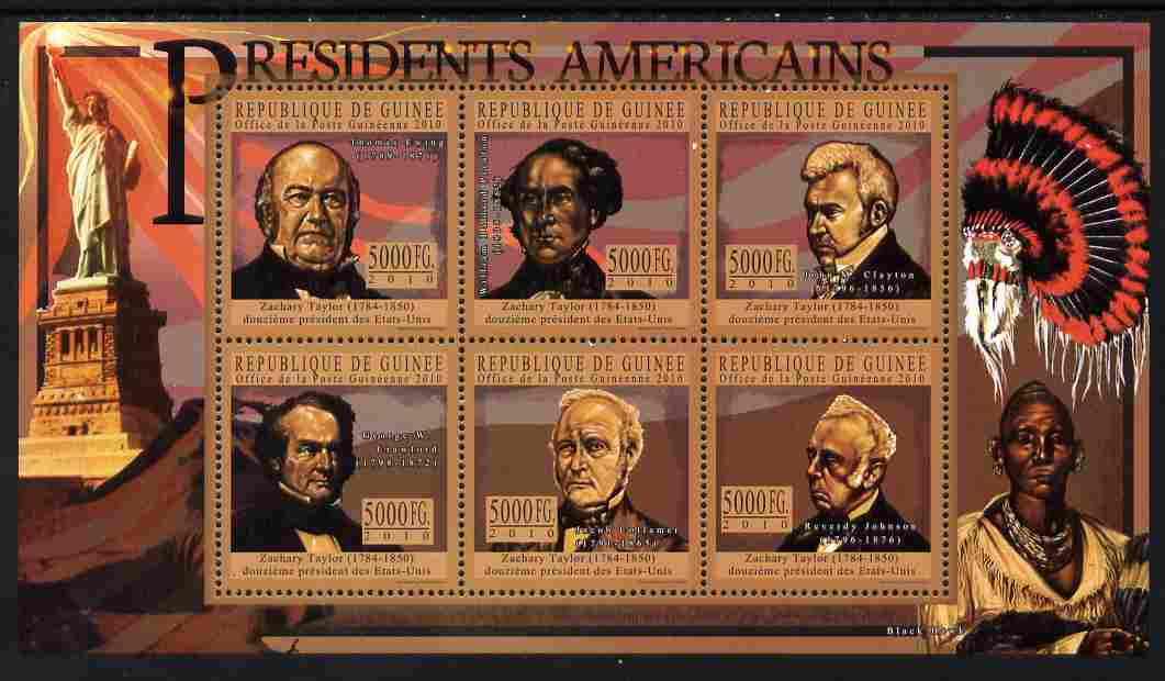 Guinea - Conakry 2010-11 Presidents of the USA #12 - Zachary Taylor perf sheetlet containing 6 values unmounted mint