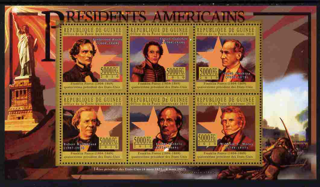 Guinea - Conakry 2010-11 Presidents of the USA #14 - Franklin Pierce perf sheetlet containing 6 values unmounted mint
