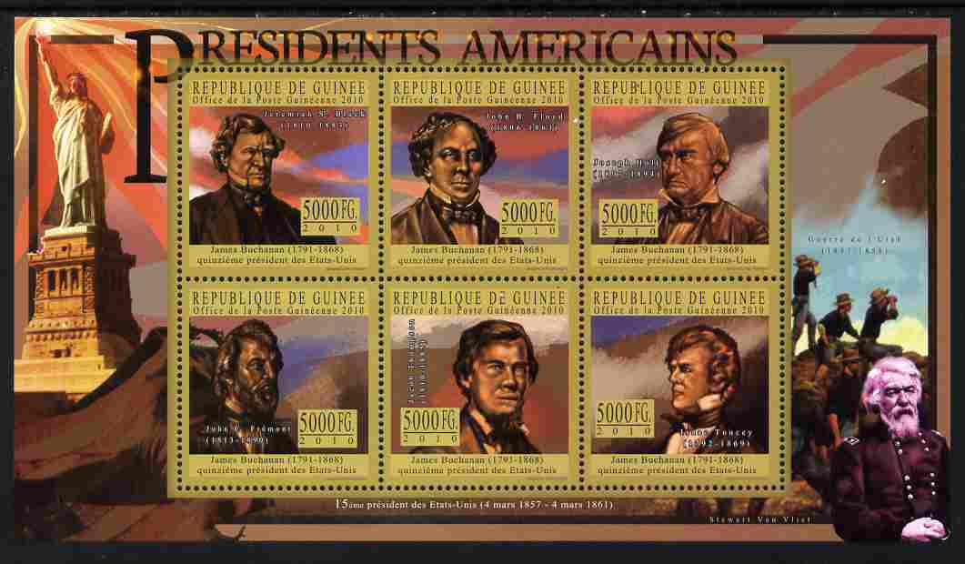 Guinea - Conakry 2010-11 Presidents of the USA #15 - James Buchanan perf sheetlet containing 6 values unmounted mint