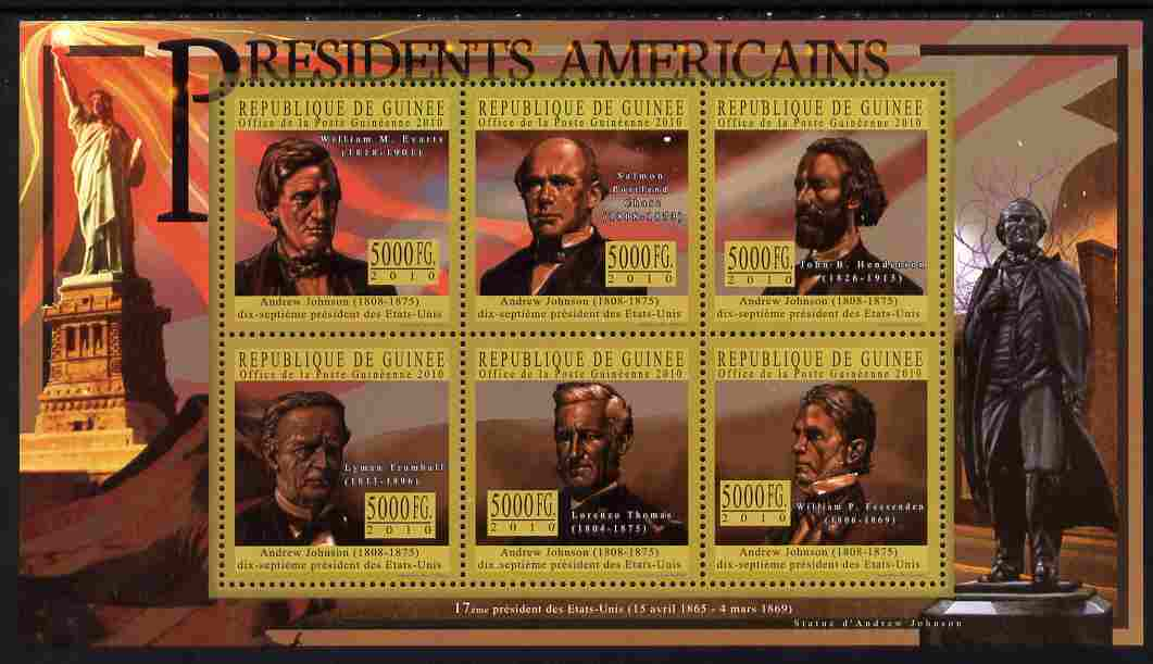 Guinea - Conakry 2010-11 Presidents of the USA #17 - Andrew Johnson perf sheetlet containing 6 values unmounted mint