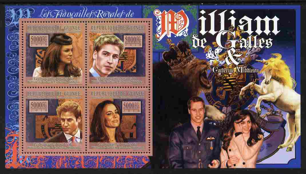 Guinea - Conakry 2010 The Royal Engagement - Prince William & Kate perf sheetlet containing 4 values unmounted mint