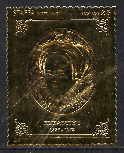 Staffa 1977 Monarchs \A38 Queen Elizabeth I embossed in 23k gold foil with 12 carat white gold overlay (Rosen #490) unmounted mint