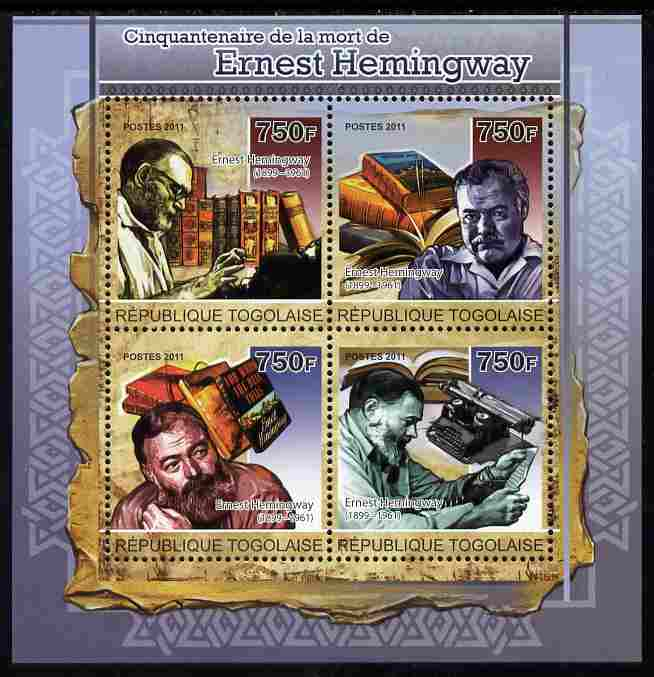 Togo 2011 50th Death Anniversary of Ernest Hemingway (author) perf sheetlet containing 4 values unmounted mint
