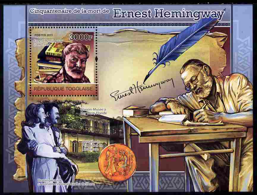 Togo 2011 50th Death Anniversary of Ernest Hemingway (author) perf souvenir sheet unmounted mint