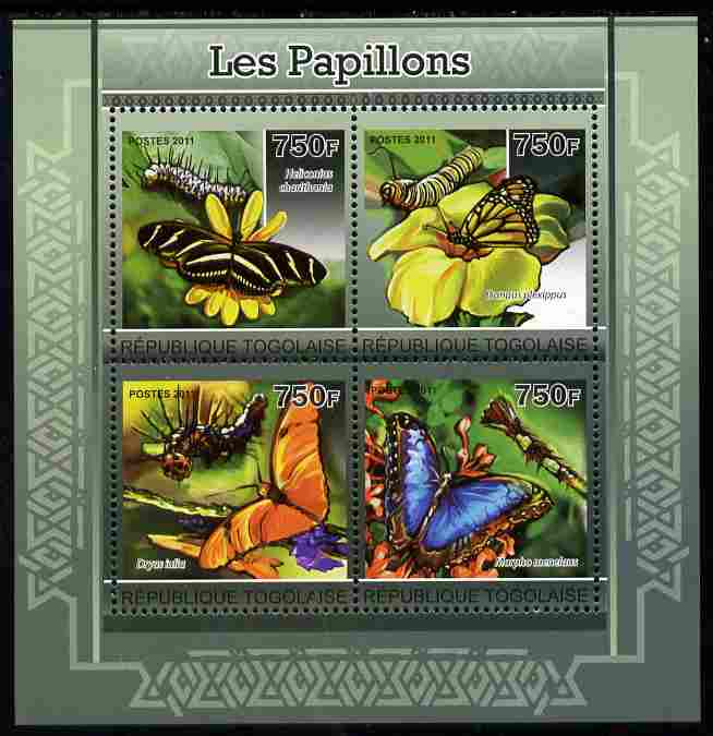 Togo 2011 Butterflies perf sheetlet containing 4 values unmounted mint