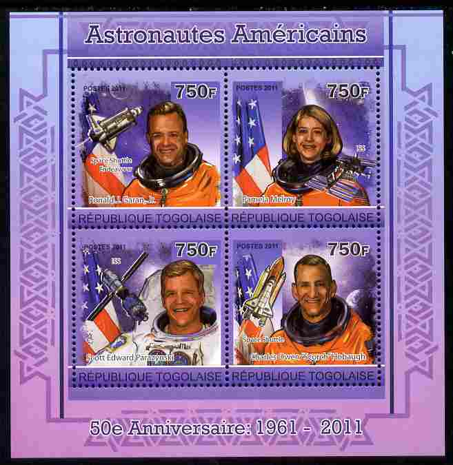 Togo 2011 50th Anniversary of American Astronauts perf sheetlet containing 4 values unmounted mint