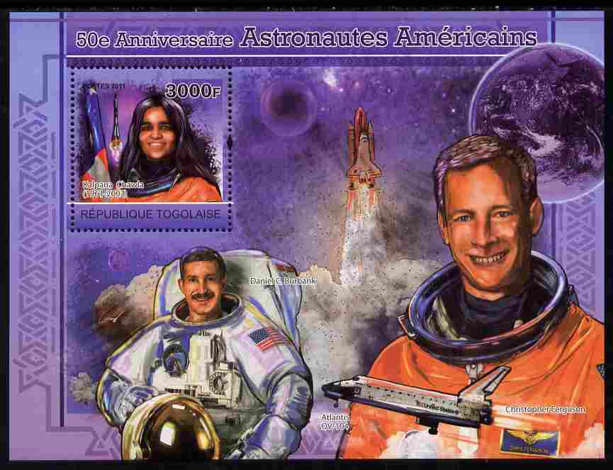 Togo 2011 50th Anniversary of American Astronauts perf souvenir sheet unmounted mint