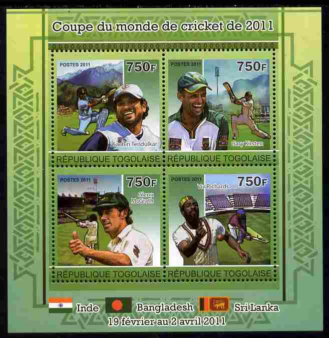 Togo 2011 Cricket World Cup perf sheetlet containing 4 values unmounted mint