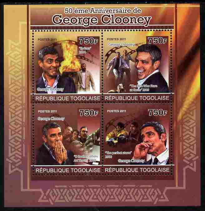 Togo 2011 50th Birth Anniversary of George Clooney perf sheetlet containing 4 values unmounted mint