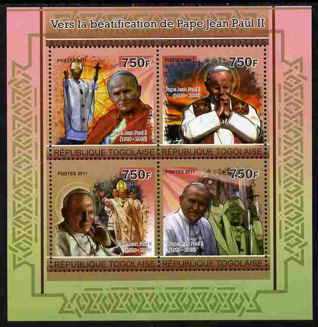 Togo 2011 Beautification of Pope John Paul II perf sheetlet containing 4 values unmounted mint
