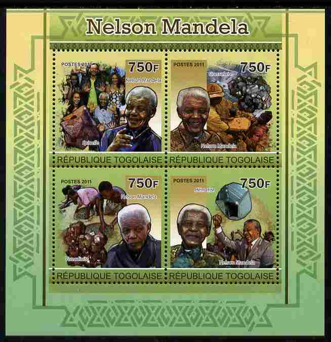 Togo 2011 Nelson Mandela & Minerals perf sheetlet containing 4 values unmounted mint