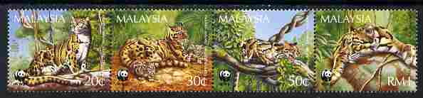 Malaysia 1995 WWF - Clouded Leopard perf strip of 4 unmounted mint SG 563-66