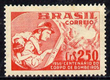 Brazil 1956 Firemen's Corps (white paper) unmounted mint SG 941